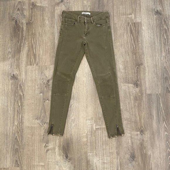 Zara army green combat style skinny jeans. Size 6